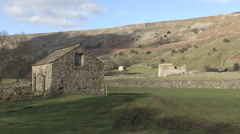 Traditional stone-built field barns near Reeth, Swaledale. Stock Footage