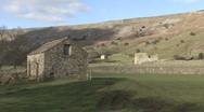 Stock Video Footage of Traditional stone-built field barns near Reeth, Swaledale.