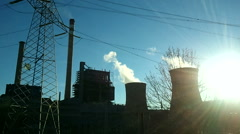 Electricity power station smoke industry - stock footage