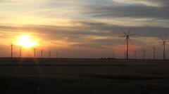 Wind Turbines Time Lapse Spinning With Sunset Stock Footage