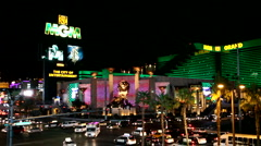 Las Vegas Strip at night MGM casino hotel in the background Stock Footage