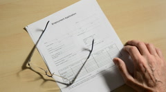 Job applicant with short pencil 1 Stock Footage