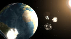 Diamonds in the orbit of the Earth - stock footage