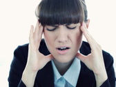 Stock Video Footage of Businesswoman having headache, closeup