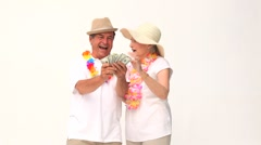 Couple showing off their money - stock footage