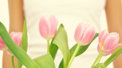 Female hands with bouquet of pink tulips, isolated Stock Footage