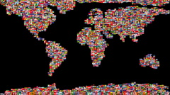 Flags of the World forming Earth Map morphing to Sphere - stock footage