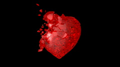 Red Heart explosion with Slow motion. Alpha channel is included Stock Footage