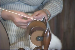 Spinning Wool on Loom - stock footage