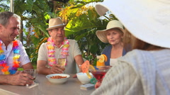Elderly friends making an aperitif together Stock Footage
