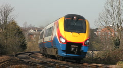 East Midlands Meridian train travels south in Leicestershire England Stock Footage