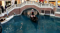 Gondola Ride inside the Venetian Hotel in Las Vegas, Nevada, USA Stock Footage