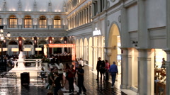 Crowd inside the Venetian Hotel in Las Vegas, Nevada, USA Stock Footage