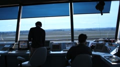 Airport traffic control tower Stock Footage