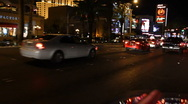 Stock Video Footage of Vegas Drive Down Strip at Night 01