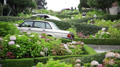 Curvy Lombard street in San Francisco Stock Footage