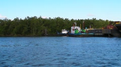 60p Tug Boats - Garbage Rubbish Dredging Barge  - River Ferry Boat.MP4 Stock Footage