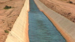 Water Flowing In Desert Irrigation Canal 2 Stock Footage