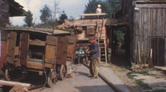 Vintage Lanz threshing machine (vintage 8 mm amateur film) Stock Footage