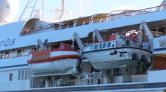 Puerto Rico - Small Cruise Ship Life Boats - stock footage