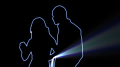 ser-31 - neon outlined dance couple silhouette in blue with light rays - stock footage