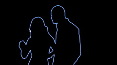 ser-31 - neon outlined dance couple silhouette in blue  - stock footage