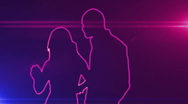 Ser-31 - neon outlined dance couple silhouette in pink with lens flares Stock Footage