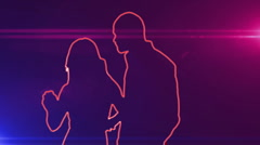 ser-31 - neon outlined dance couple silhouette in red with lens flares - stock footage