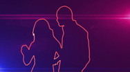 Ser-31 - neon outlined dance couple silhouette in red with lens flares Stock Footage