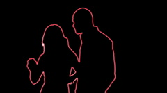 ser-31 - neon outlined dance couple silhouette in red - stock footage