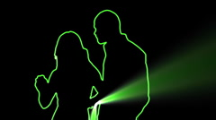ser-31 - neon outlined dance couple silhouette in green with light rays - stock footage