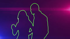 ser-31 - neon outlined dance couple silhouette in green with lens flares - stock footage