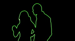 ser-31 - neon outlined dance couple silhouette in green - stock footage
