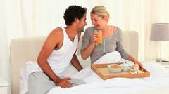 Cute couple taking the breakfast - stock footage