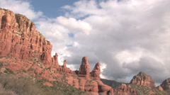 Sedona red rocks clouds tl Stock Footage