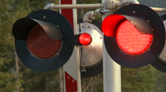 Railway crossing signal Stock Footage