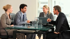 Four people during a brainstorming - stock footage