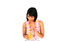 Asian woman sipping a cocktail Stock Footage