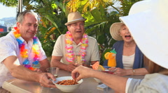 Mature friends during an aperitif Stock Footage