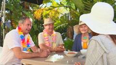 Elderly couples of friends taking an aperitif Stock Footage