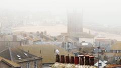 Timelapse sea mist over St Ives. - stock footage