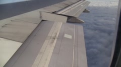 Flaps coming out of wing for landing Stock Footage