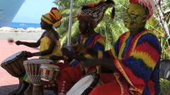Mdn play instruments in Grenada - stock footage