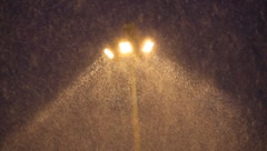 Snowstorm on the searchlight light - stock footage