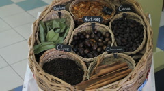 Spices in basket.MOV Stock Footage