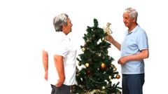 Couple with their Cristmas tree Stock Footage