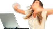 Happy woman looking at her laptop Stock Footage