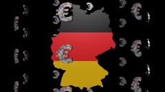 Euro symbols round Germany map flag animation Stock Footage