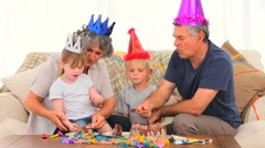 Family on birthday Stock Footage
