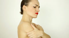 Portrait of attractive sexy screaming woman Stock Footage